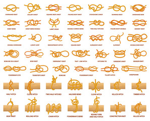 All Types of Knots Demonstrated with Strong Rope
