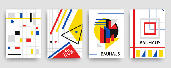 Retro geometric bauhaus, memphis covers templates set