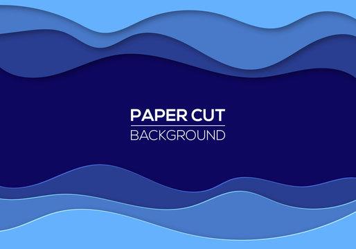 Modern paper cut art design template with cartoon abstract waves