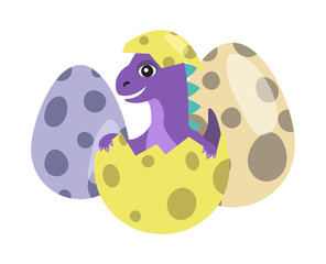 Dinosaur Kid in Egg with Dots Vector Illustration