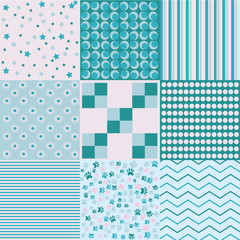 Design 8 Chic different vector patterns. Texture can be used for printing on fabric and paper or scrap booking. EPS vector background.
