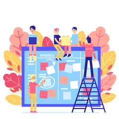 Scrum task board - big agile organizer with people sticking papers on it isolated on white background. Team work on project with daily planning process in flat vector illustration.