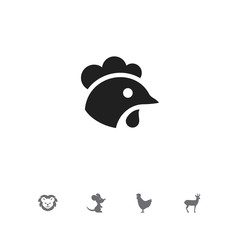 Set of 5 editable animal icons. Includes symbols such as rat, rooster, cock and more. Can be used for web, mobile, UI and infographic design.