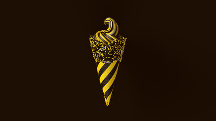 Yellow and Black Ice Cream with Sprinkles and Striped Chevron Pattern 3d illustration