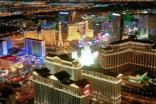 Las Vegas Strip Casinos at night from the helicopter. Night lights of Nevada, USA