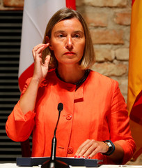 European Union foreign policy chief Mogherini arrives for a news conference in Vienna