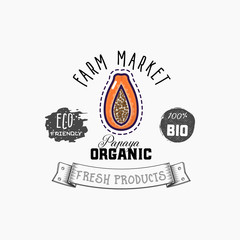 Bio sticker and eco products. Papaya web element, Isolated Vector.