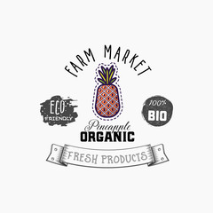 Bio sticker and eco products. Pineapple web element, Isolated Vector.