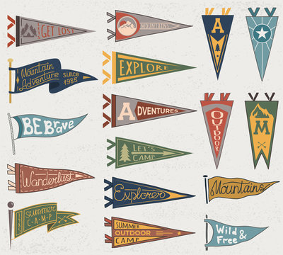 Set of adventure, outdoors, camping colorful pennants. Retro labels on textured background. Hand drawn wanderlust style. Pennant travel flags design