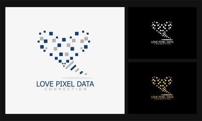 abstract love pixel data logo