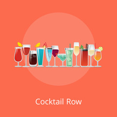 Cocktail Row Poster Summer Drinks Set Vector Drink