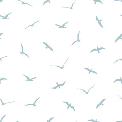 seamless pattern with gulls on white background