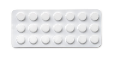 Top view of pills blister pack