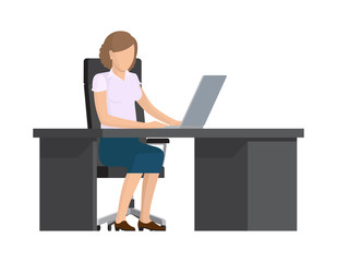 Cute Lady Working with Computer Colorful Banner