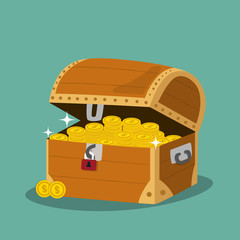 treasure chest with golden coins . Vector illustration.