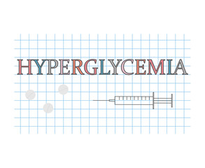 hyperglycemia word on checkered paper sheet- vector illustration