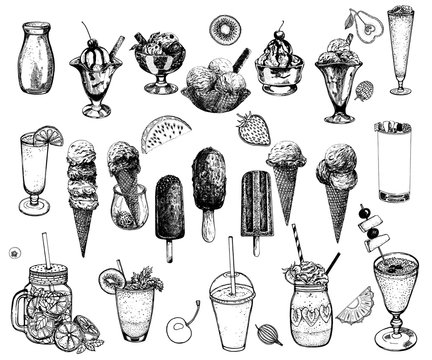 Set of hand drawn sketch style ice cream, smoothie and fruits isolated on white background. Vector illustration.