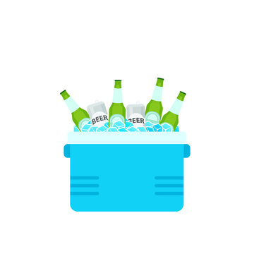 Open cooler box with beer bottles