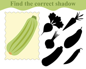 Find the correct shadow, educational game for kids. Vegetable marrow (zucchini). Vector illustration.