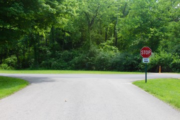 The intersection of the road to the stop sign.