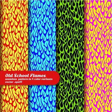 Flaming background in 4 color options, seamless vector pattern