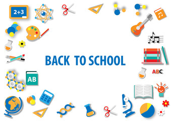 Back to school, paper art, flat icon background vector and illustration