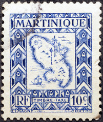 Old map of Martinique on postage stamp