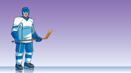 Hockey Player Background / Cartoon background with ice hockey player on ice hockey rink, and copy space for your text.
