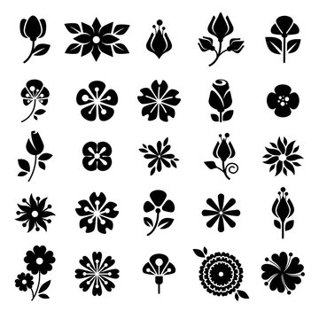 Flower blossom buds silhouette vector icons