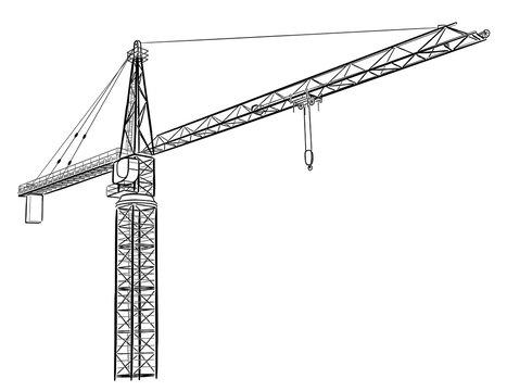 Tower construction crane.