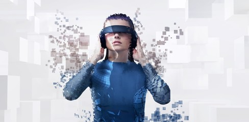 Composite image of digital composite of woman with a virtual