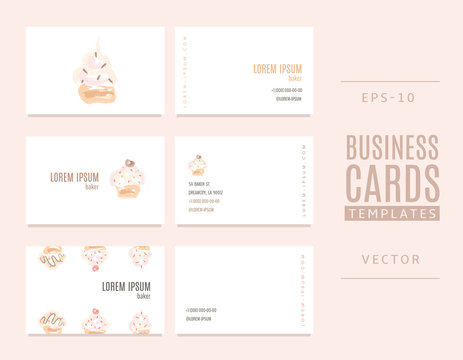 Business cards for bakers, shops and confectioneries with cakes.