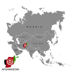 Territory of Afghanistan on Asia continent. Flag of Afghanistan. Vector illustration