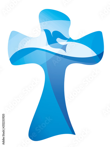 Christian Cross Baptism Symbol With Dove And Water Waves Multiple