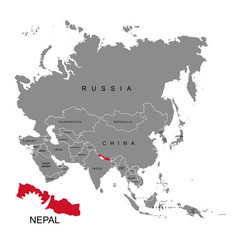 Territory of Nepal on Asia continent. Flag of Nepal. Vector illustration