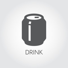 Tin can with drink glyph icon. Abstract soft drink, beer or lemonade concept. Aluminum package for beverage label. Food and drink series. Graphic web pictograph. Vector illustration