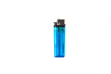 Blue plastic gas lighter isolated on white background. Closeup shot