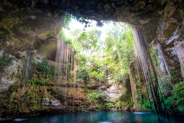 Cenote cave lake landscape view, Chichen Itza, Mexico