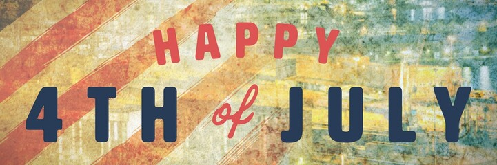 Composite image of digitally generated image of happy 4th of
