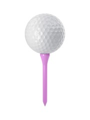 3D rendering golf ball on pink tee isolated on white