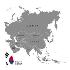 Territory of South Korea on Asia continent. Flag of South Korea. Vector illustration