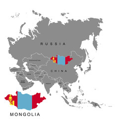 Territory of Mongolia on Asia continent. Flag of Mongolia. Vector illustration