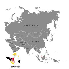 Territory of Brunei on Asia continent. Flag of Brunei. Vector illustration
