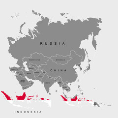 Territory of Indonesia on Asia continent. Flag of Indonesia. Vector illustration