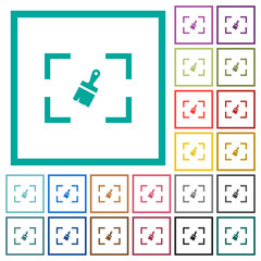Camera sensor cleaning flat color icons with quadrant frames