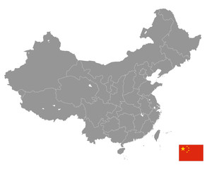 Grey Vector Political Map of China