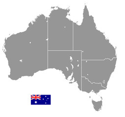 Grey Vector Political Map of Australia