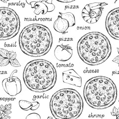 Pizza ingredients vector seamless pattern, hand drawn food background with text