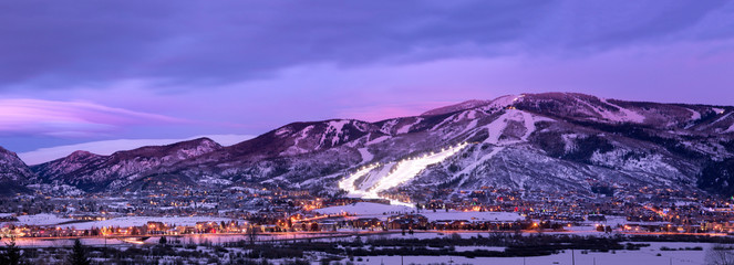 Steamboat Springs at dusk, Colorado, America, USA