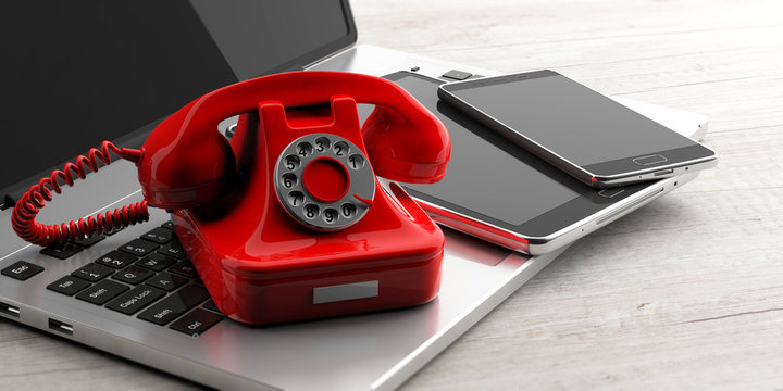 Red vintage telephone and modern elctronic devices on wooden background. 3d illustration